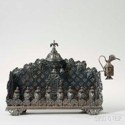 German Silver-plated Hanukkah Lamp