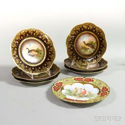 Set of Six Royal Vienna Hand-painted Porcelain Bird Plates and a Vienna Porcelain Plate with Maidens