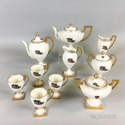 Belleek Willets Ten-piece Princeton Tigers Porcelain Tea and Coffee Set.     Estimate $20-200