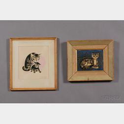 Lot of Two Cat Images:      Sheila Flinn (British, 20th Century), Tabby Cat
