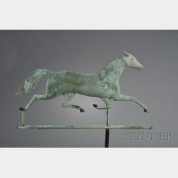 Patinated Molded Copper and Cast Zinc Running Horse Weather Vane