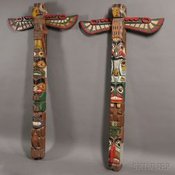 Two Large Polychrome Carved Wood Totem Poles