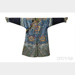 Man's Formal Blue Silk Dragon Robe