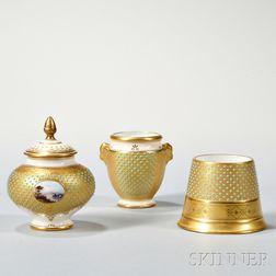 Three Jeweled Coalport Porcelain Items