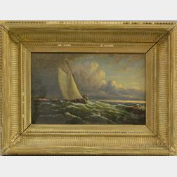 Luther L. Ryerson (American, Mid-19th Century)      Vessel with Sailor on the Lookout