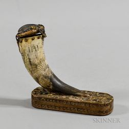 Dragon-carved Powder Horn Mounted to a Wooden Base