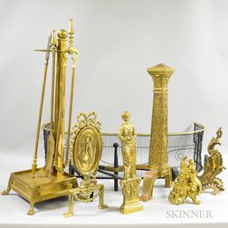 Group of Brass and Iron Fireplace Accessories.     Estimate $20-200