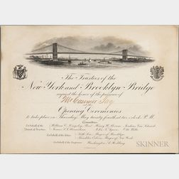 Brooklyn Bridge, Opening Ceremonies Invitation, 24 May 1883.