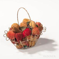 Small White-painted Wirework Basket of Miniature Velvet Fruit
