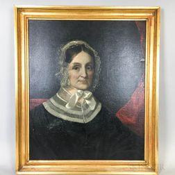 American School, 19th Century       Portrait of a Woman in Lace