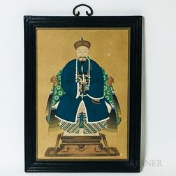 Framed Gouache on Paper Portrait of a Man