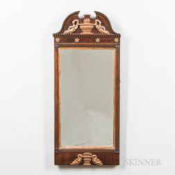 Neoclassical Walnut and Gilt-gesso Mirror