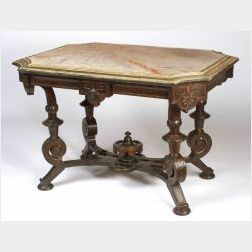 American Renaissance Revival Gilt Bronze Mounted and Marble-top Rosewood Center Tabl