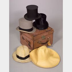 Benjamin Trunk Makers Tan Leather Hatbox and Four Vintage Hats