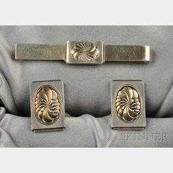 Sterling Silver Cuff Links and Tie Bar, Georg Jensen