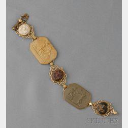 Antique 18kt Gold and Lava Cameo Bracelet