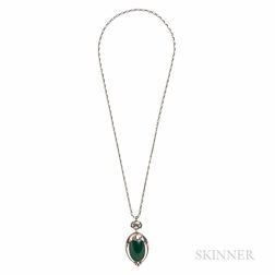 Georg Jensen .830 Silver and Green Onyx Pendant