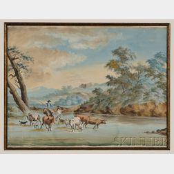 British School, 18th Century Style      Crossing the River.