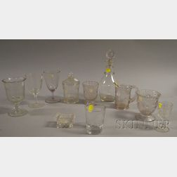 Eleven Pieces of Assorted Colorless Pressed, Molded, and Blown Glass Tableware.