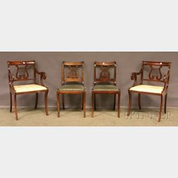 Set of Eight Classical-style Maple Lyre-back Side Chairs and a Pair of Armchairs.