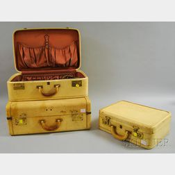 Vintage Three-piece White Leather Luggage Suite