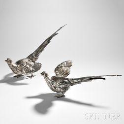 Pair of Sterling Silver Pheasants