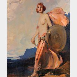 Eric L. (Frederic) Pape (American, 1870-1938)      The Shield Maiden/Lysistrata