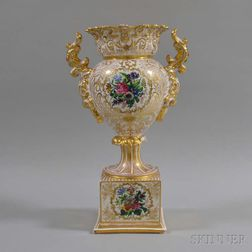 German Gilt and Floral-decorated Porcelain Handled Urn