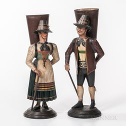 Two Toleware Figures