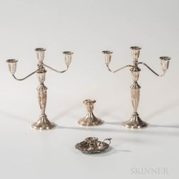 Pair of Sterling Silver Weighted Three-Light Candelabra, a Sterling Silver Weighted Low Candlestick, and a Sterling Silver Chamberstick