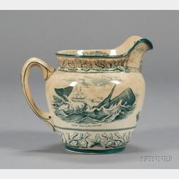 Transfer Decorated  New Bedford, Massachusetts, Souvenir Pottery Pitcher