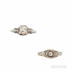 Two Art Deco Diamond Rings
