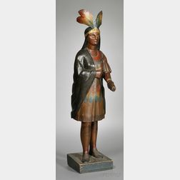 Polychrome-painted Carved Wooden Indian Tobacconist Figure