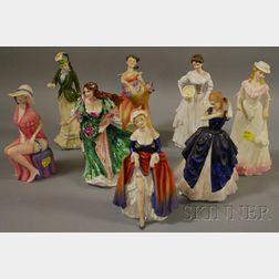 Eight Royal Doulton Porcelain Figures of Women