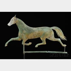 Molded Copper and Cast Zinc Running Horse Weathervane
