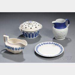 Four Wedgwood White Smear-glazed Stoneware Items