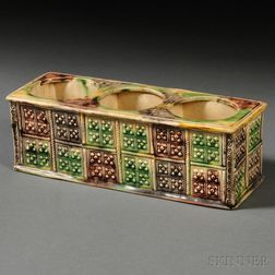 Staffordshire Cream-colored Earthenware Triple-well Inkstand