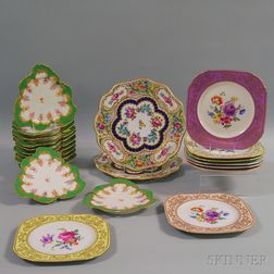 Twenty-two Continental Gilt and Floral-decorated Porcelain Plates