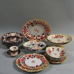 Approximately Twenty-two Pieces of Imari-palette English Ceramics
