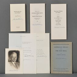 Hoover, Herbert (1874-1964) Four Signed Offprints of Speeches, Signed Portrait, and Two Typed Letters Signed.
