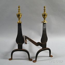 Pair of Brass and Wrought Iron Urn-top Andirons