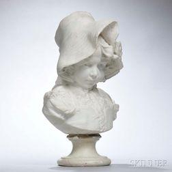 Filli Pugi (Italian, 19th Century)       White Marble Bust of a Girl Wearing a Bonnet