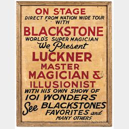 "Painted ""Luckner Master Magician & Illusionist"" Trade Sign"