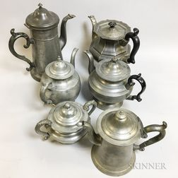 Six Pewter Tableware Items