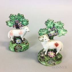 Pair of Staffordshire Ceramic Bocage Sheep