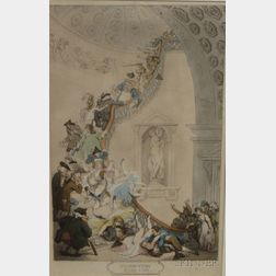 Framed Hand-colored Etching, The Exhibition Stare Case, after Thomas Rowlandson, identified on labels including one from Spink...
