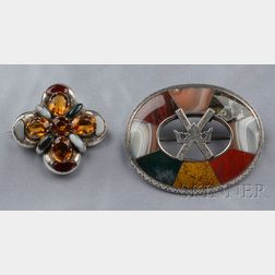 Two Victorian Silver and Scottish Agate Brooches