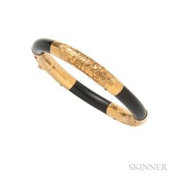 High-karat Gold and Lacquered Wood Bracelet