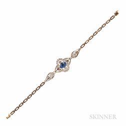 Antique 14kt Gold, Sapphire, and Diamond Bracelet