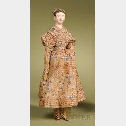 Rare Papier-mache Lady with Coronet Braid
